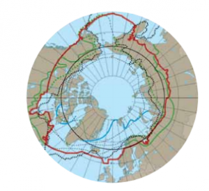 A new perspective with the Arctic Ocean being in the center.