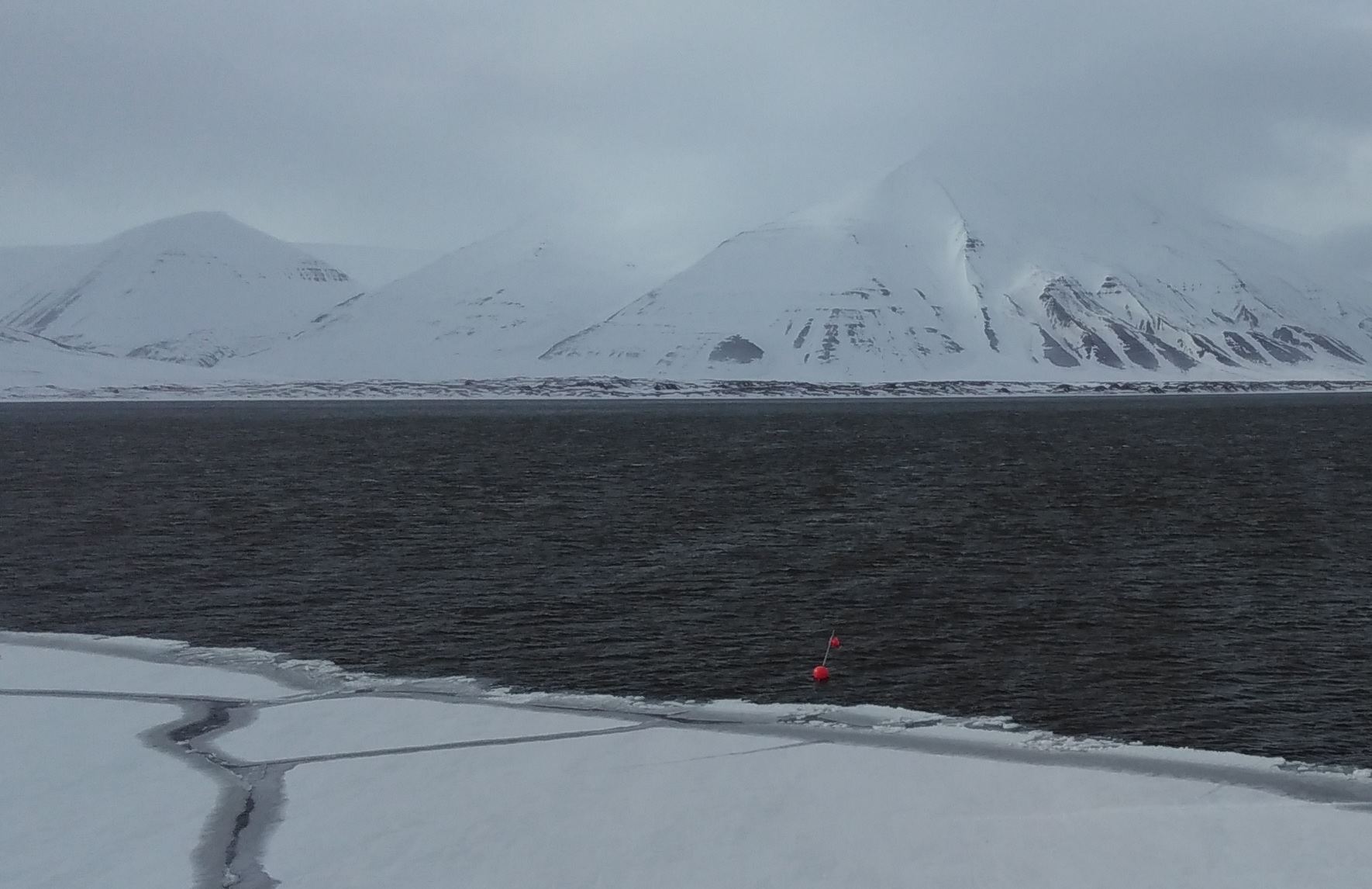 Sediment trap array threatened by the ice floe (picture by Ingrid Wiedmann)